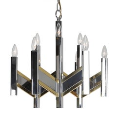 Gaetano Sciolari Chevron Chandelier in Brass and Chrome, Circa 1960s