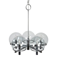 Gaetano Sciolari Chrome Chandelier with Five Smoked Glass Globes, Circa 1970s