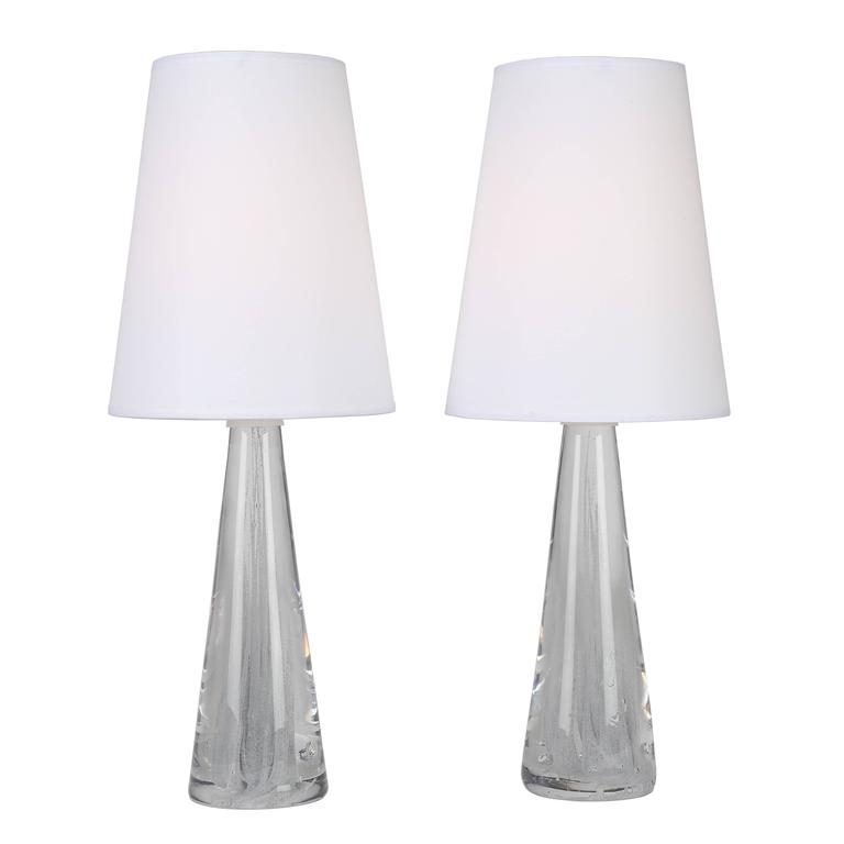 Pair of 1960s Glass Lamps with Internal Bubbles by Vicke Lindstrand for Kosta