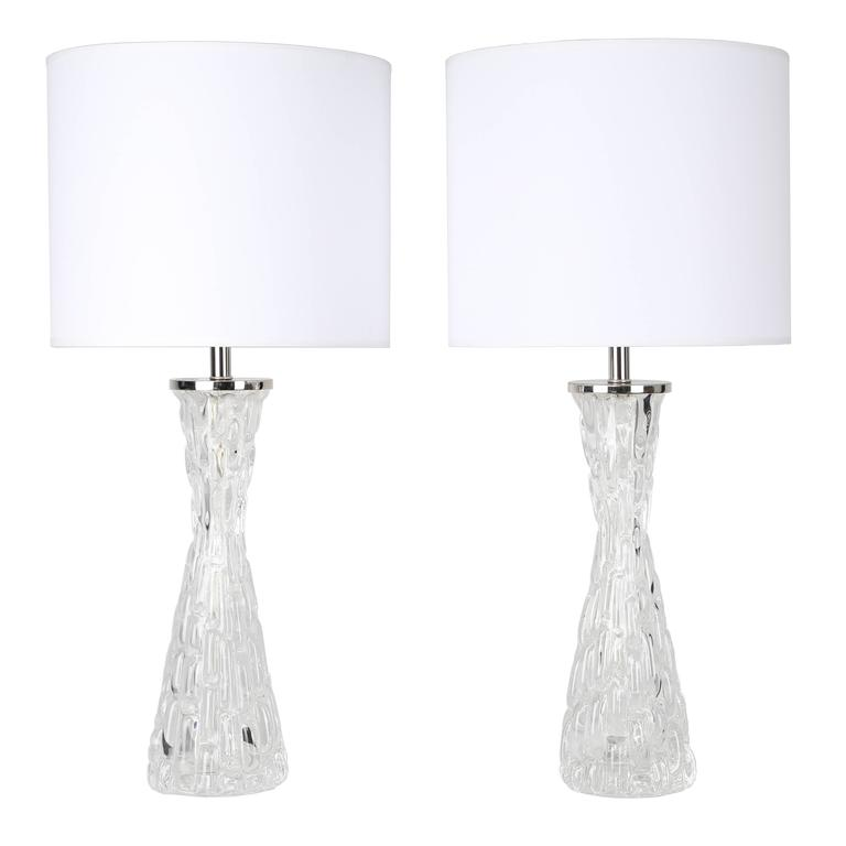 Pair of 1970s Bubble-Textured Clear Glass Lamps by Carl Fagerlund for Orrefors