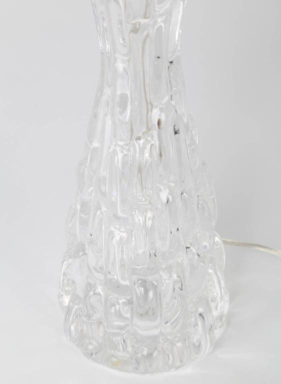 Polished Pair of 1970s Bubble-Textured Clear Glass Lamps by Carl Fagerlund for Orrefors