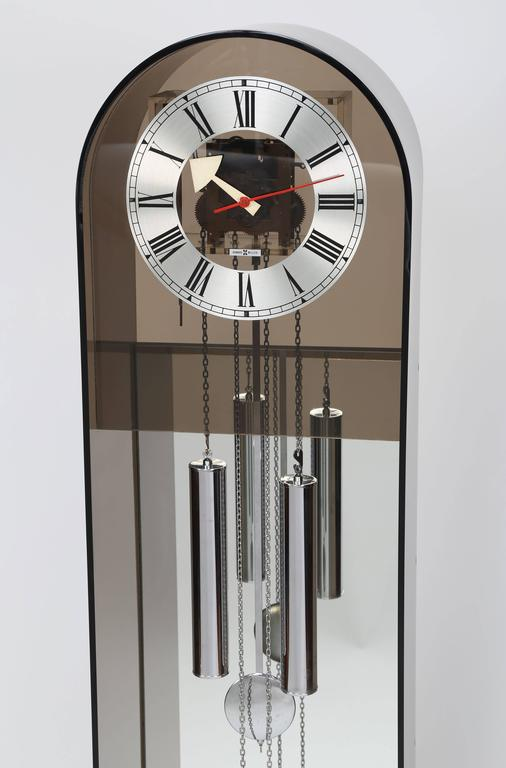 American Howard Miller Smoked-Lucite Grandfather Clock, Circa 1970s For Sale