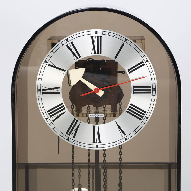 Plated Howard Miller Smoked-Lucite Grandfather Clock, Circa 1970s For Sale