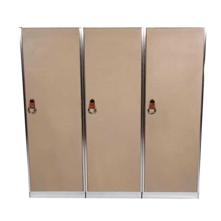 Three 1970s Leather-Clad Wardrobe Cabinets by Guido Faleschini for Pace