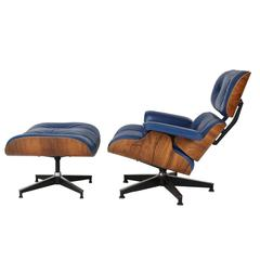 Vintage 670-671 Eames Rosewood Lounge Chair and Ottoman in Blue Leather