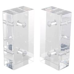Pair of Pierced Lucite Bookends