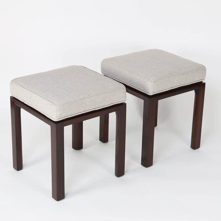 Superior Set Of Four Harvey Probber Stools With Mahogany Bases, Newly Refinished And  Reupholstered In A Good Looking