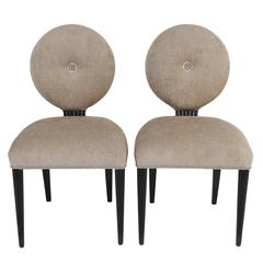 Pair of Grosfeld House 1940s Balloon-Back Chairs