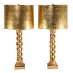 Pair of Frederick Cooper Studios Carved Helix Table Lamps, Circa 1950s