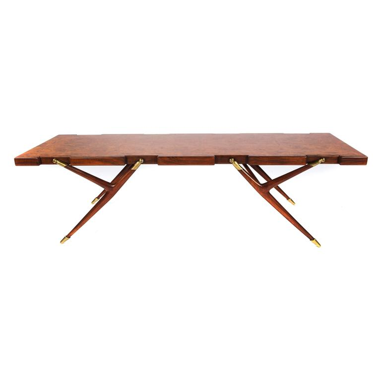 Burl Walnut and Brass 1950s Coffee Table by Ico Parisi for Singer and Sons