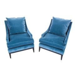 Pair of Sloped-Arm Lounge Chairs in Blue Velvet, circa 1960s