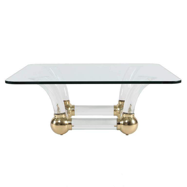 1970s Sabre-Leg Lucite, Brass and Glass Coffee Table