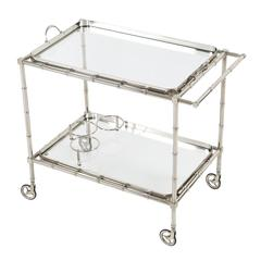 1960s, Swedish Polished-Nickel, Faux-Bamboo Bar Cart on Casters