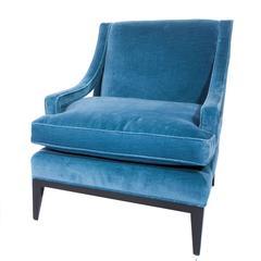 Sloped-Arm Lounge Chair in Blue Velvet, circa 1960s