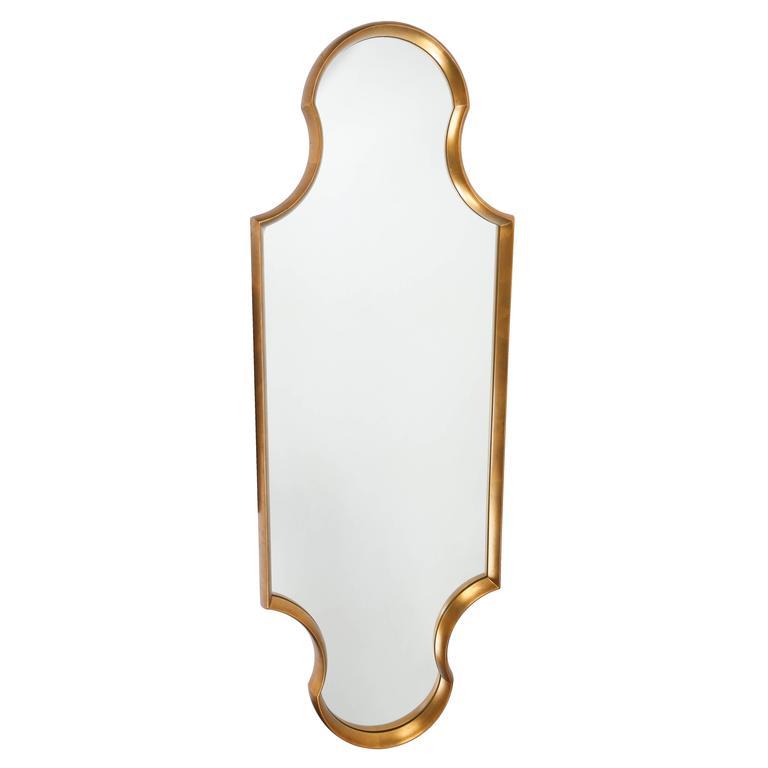 Tall Keyhole-Shaped Mirror with Gilt Finish, circa 1960s