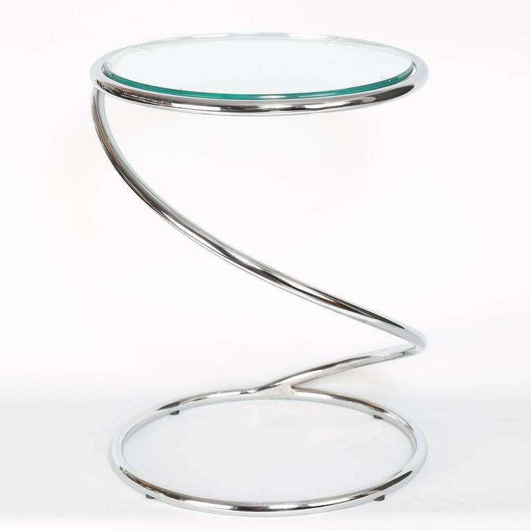 Fun 1970s Chrome Side Table In The Form Of A Spring By Pace Collection