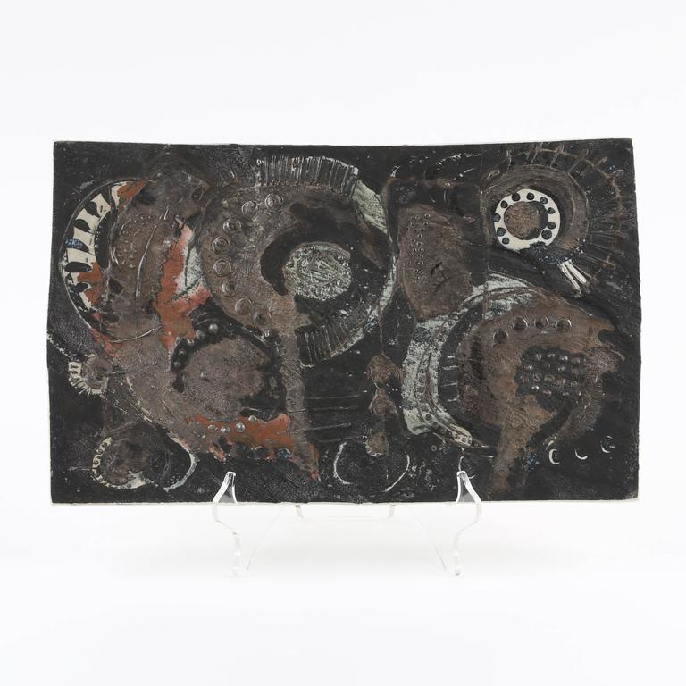 B Rje Skohg For Gustavsberg Ceramic Tile With Silver