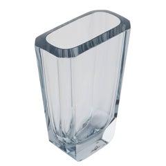 Large Octagonal Strombergshyttan Blown and Cut-Glass Vase, circa 1950s