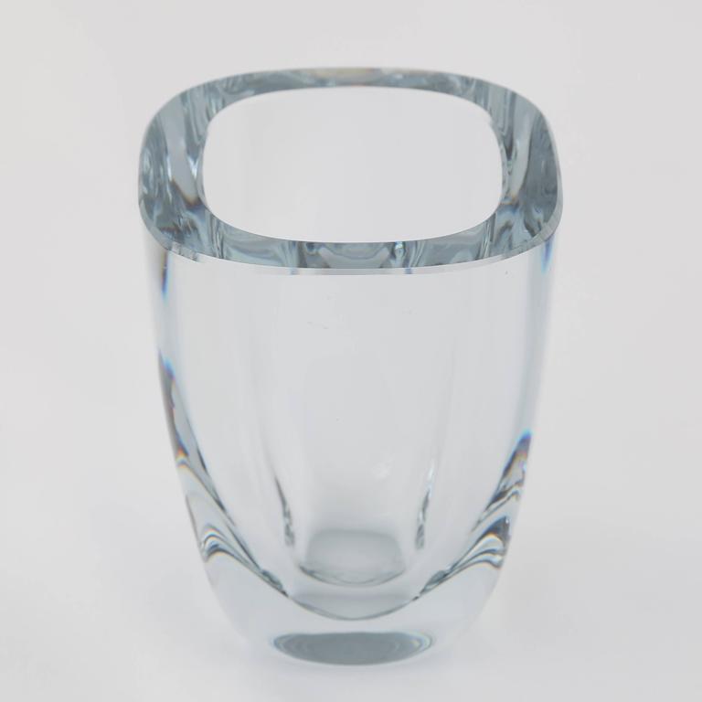Small Rectangular Strombergshyttan Glass Vase Circa 1950s For Sale