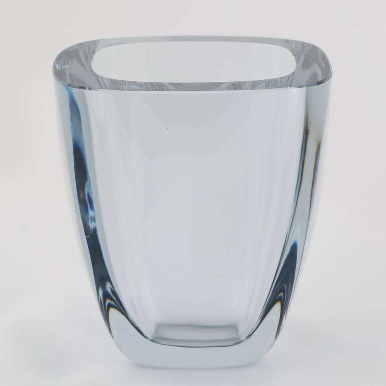 Large Rectangular Strombergshyttan Glass Vase Circa 1950s For Sale