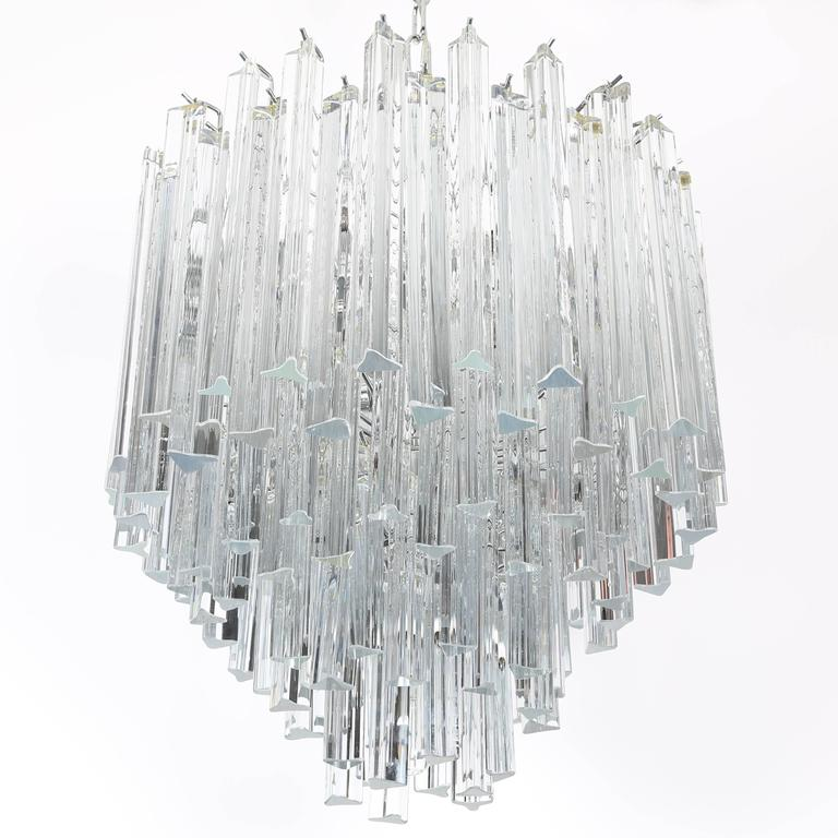 Camer Glass Dramatic Five Tier Murano Glass Chandelier by Camer