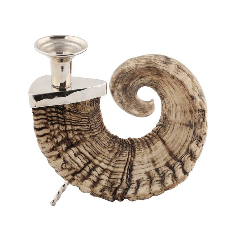 Ram's Horn Candle Holder with Nickel Fittings, circa 1970s