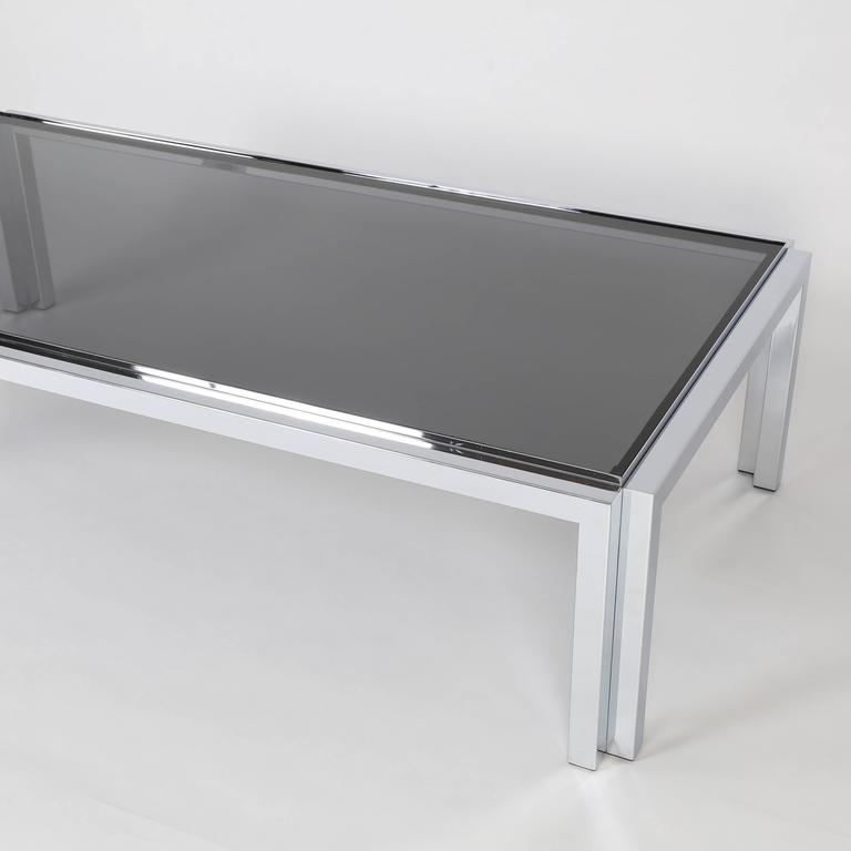 Late 20th Century Rectangular Chrome and Smoked-Glass Coffee Table, circa 1970s For Sale