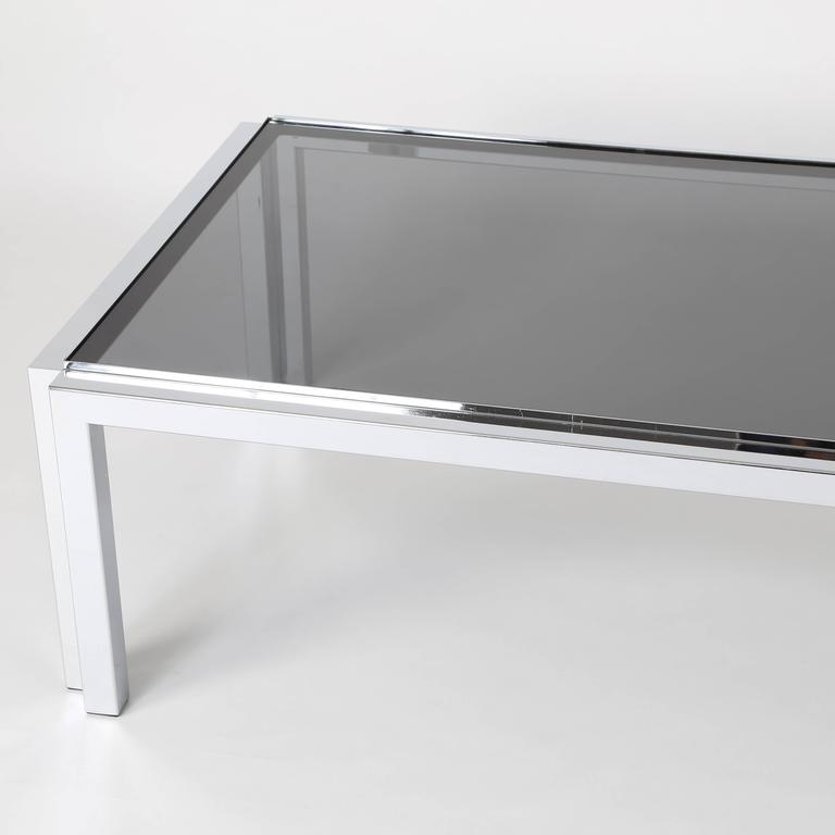 Rectangular Chrome and Smoked-Glass Coffee Table, circa 1970s In Excellent Condition For Sale In Brooklyn, NY