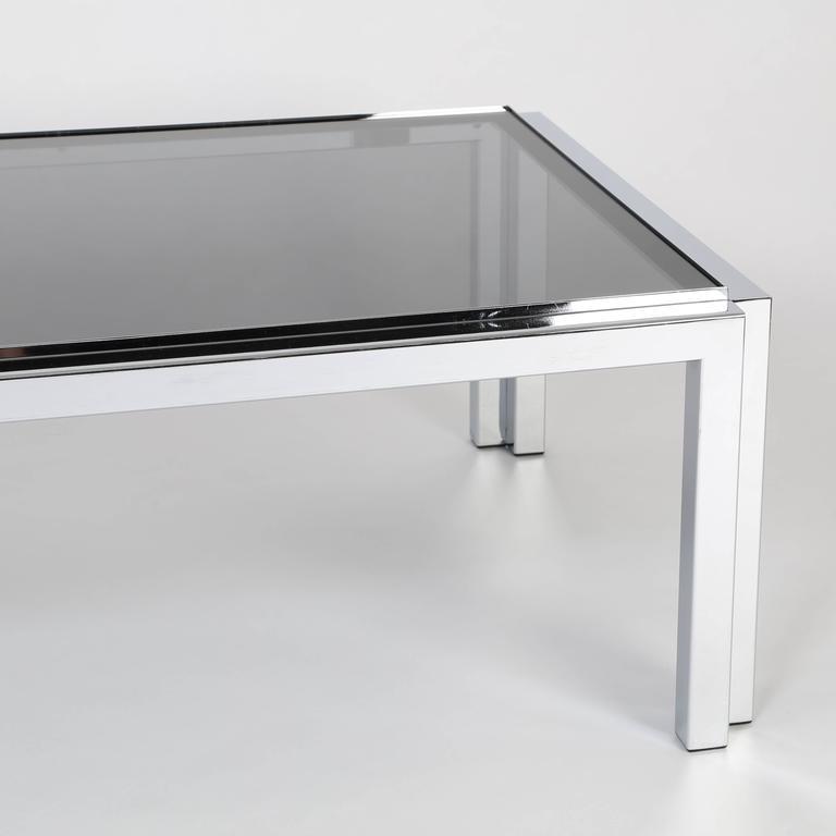 Smoked Glass Rectangular Chrome and Smoked-Glass Coffee Table, circa 1970s For Sale