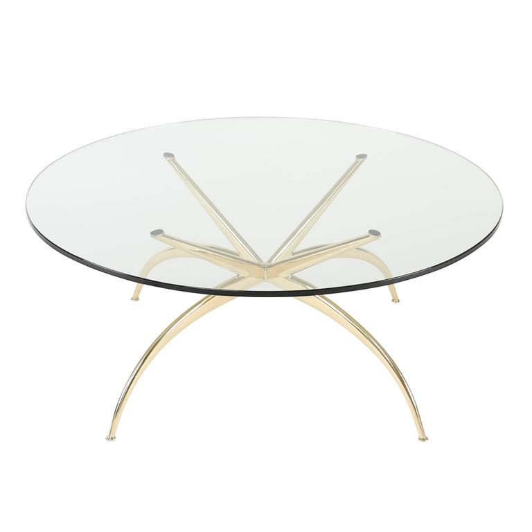 Italian Brass Coffee Table with Arched Legs, circa 1950s For Sale