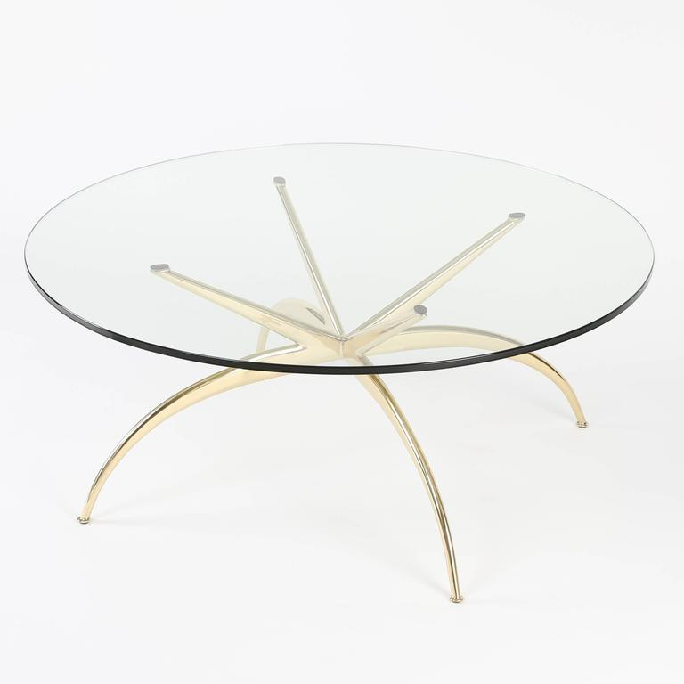Lacquered Italian Brass Coffee Table with Arched Legs, circa 1950s For Sale
