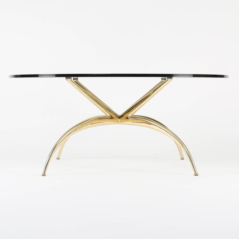 Mid-20th Century Italian Brass Coffee Table with Arched Legs, circa 1950s For Sale