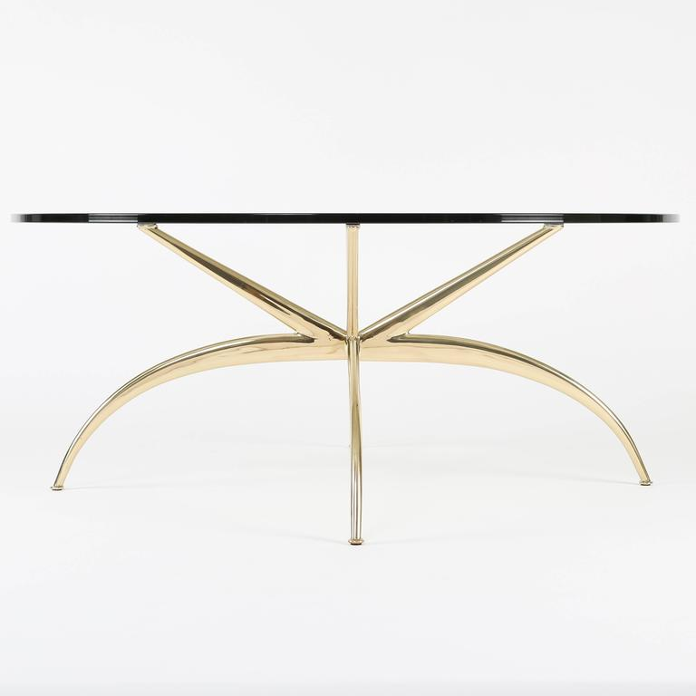Italian Brass Coffee Table with Arched Legs, circa 1950s In Excellent Condition For Sale In Brooklyn, NY
