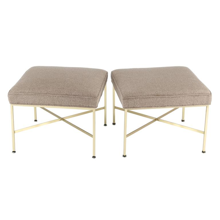 Pair of 1950s Paul McCobb X-Base Brass Stools with Luxe Upholstery