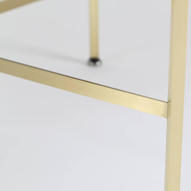 Pair of 1950s Paul McCobb X-Base Brass Stools with Luxe Upholstery For Sale 4