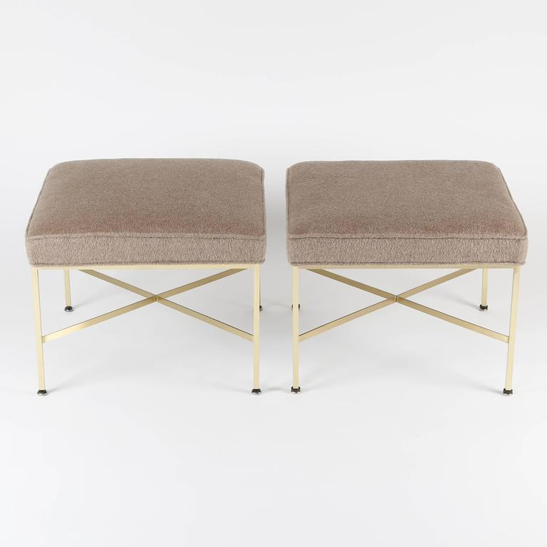 Pair of 1950s Paul McCobb X-Base Brass Stools with Luxe Upholstery In Excellent Condition For Sale In Brooklyn, NY
