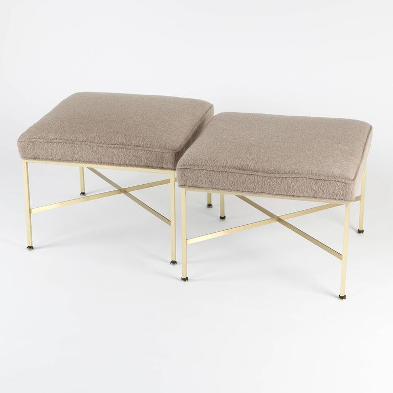 American Pair of 1950s Paul McCobb X-Base Brass Stools with Luxe Upholstery For Sale
