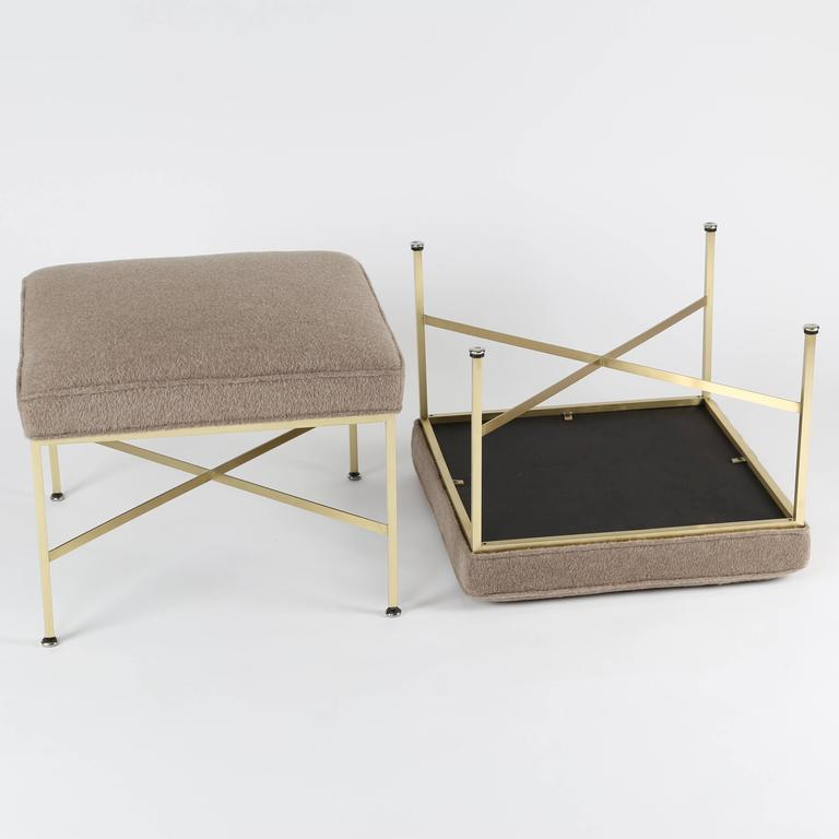 Mid-20th Century Pair of 1950s Paul McCobb X-Base Brass Stools with Luxe Upholstery For Sale