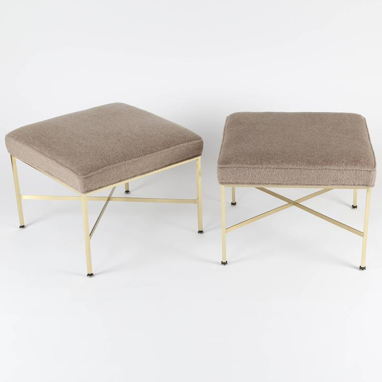 Lacquered Pair of 1950s Paul McCobb X-Base Brass Stools with Luxe Upholstery For Sale