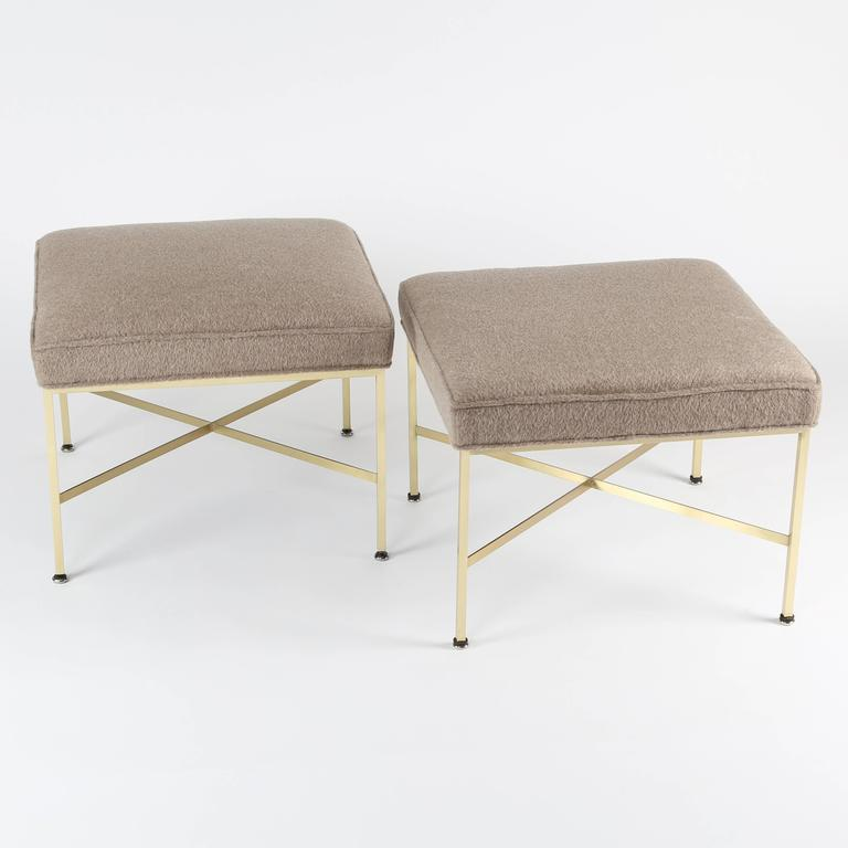 Paul McCobb for Calvin Furniture X-base stool with square tubular brass frames, flat brass stretchers and new luxurious virgin wool and mohair upholstery. Fabric swatch available.
