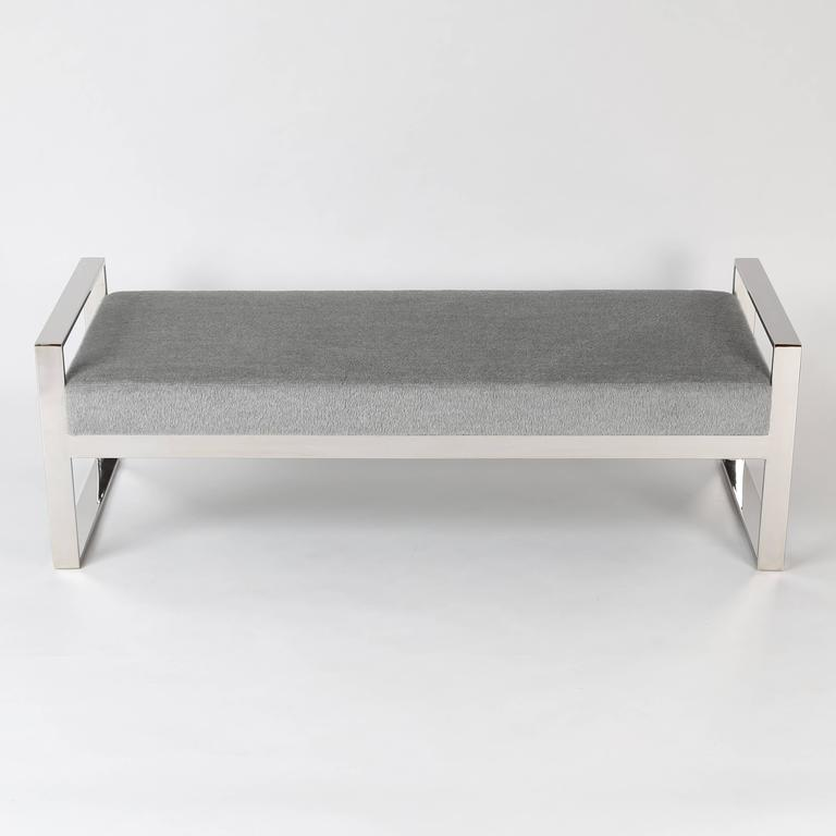 Nicely scaled bench with an open, polished-chrome frame. The comfortable upholstered seat has been recovered in a soft, super-luxe mohair and wool fabric.