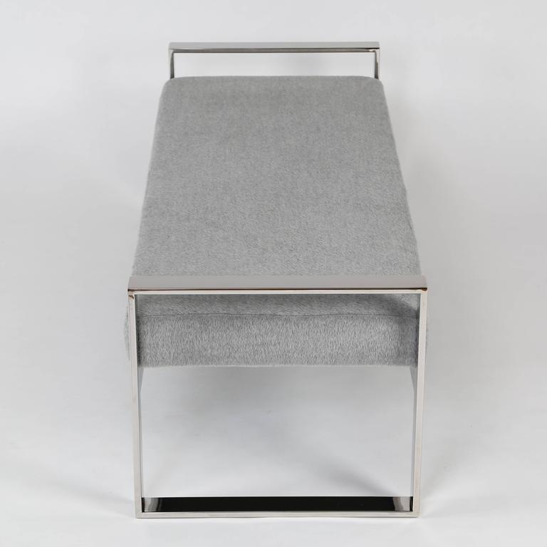 Polished Chrome-Frame Bench in the Style of Milo Baughman For Sale