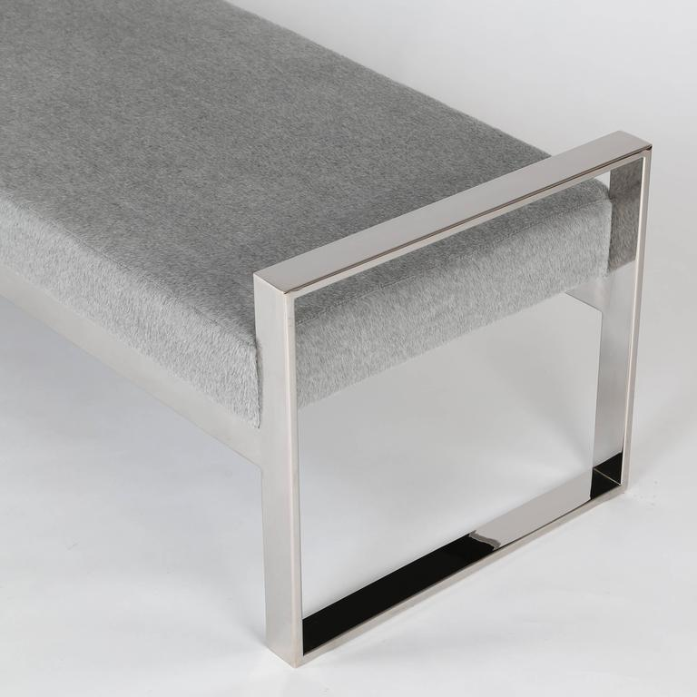 Late 20th Century Chrome-Frame Bench in the Style of Milo Baughman For Sale