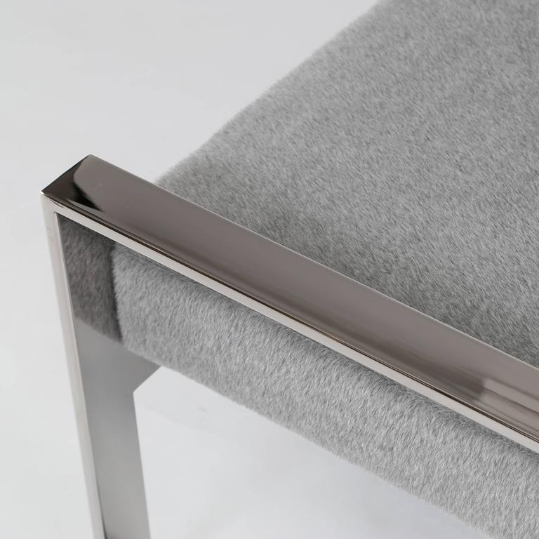 Chrome-Frame Bench in the Style of Milo Baughman For Sale 1