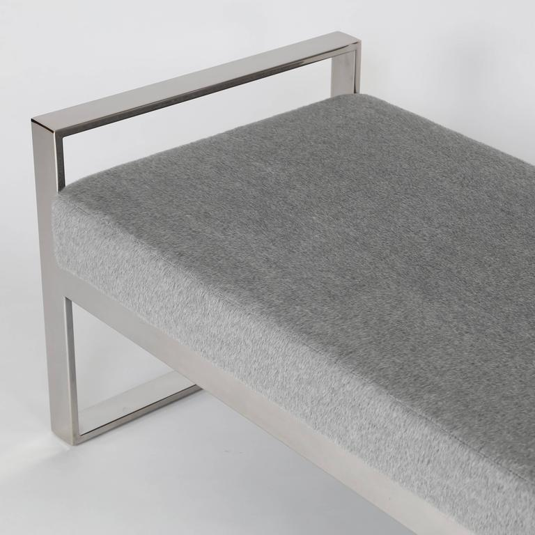 Mohair Chrome-Frame Bench in the Style of Milo Baughman For Sale
