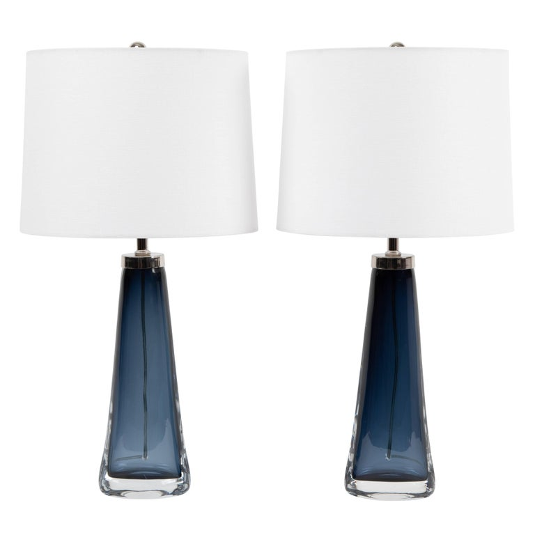 Pair of Carl Fagerlund for Orrefors Blue Glass Table Lamps, circa 1960s