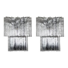 Pair of Large Murano Sconces with Tronchi Crystals, circa 1970s