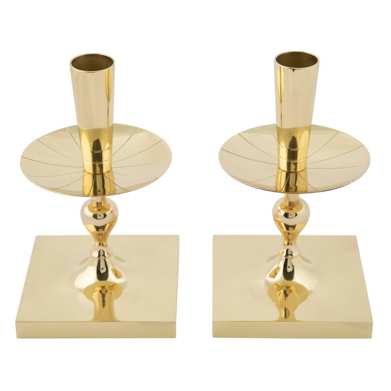 Pair of Tommi Parzinger Brass Candleholders with Square Bases, circa 1950s