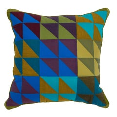 One-of-a-Kind Square Quilted Pillow in Green, Blue and Lavender Cotton