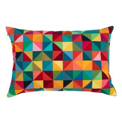 One-of-a-Kind Rectangular Quilted Pillow in Pink, Red, Orange, Green and Blue